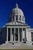 Capitol Steps - The front steps of the Missouri State Capitol Building adorned with a Christmas Wreath in celebration.