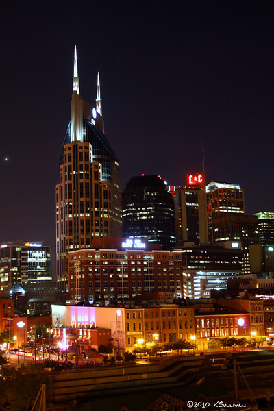"Nashville, TN skyline including closeup of the ""batman building.""  (Bell Building)"