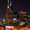 "Nashville, TN skyline including closeup of the ""batman building.""  (Bell Building)"