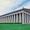 Parthenon, Nashville, TN.  The Parthenon in Nashville is the only full scale replica of the original Parthenon in the world.  It was built originally as a Tennessee Centennial Exposition attraction in 1896, and was made of plaster. It was so well loved that, after being repaired numerous times, it was replaced with the concrete and steel structure that stands today.  <br /> <br /> The Parthenon was a temple to the Goddess Athena, and the Nashville Parthenon contains a statue of Athena said to be the largest indoor sculpture in the western world.