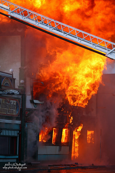 Burning Up<br /> Front of the now fully engulfed Alaska Hotel - Dawson Creek, BC.<br /> <br /> September 14, 2012