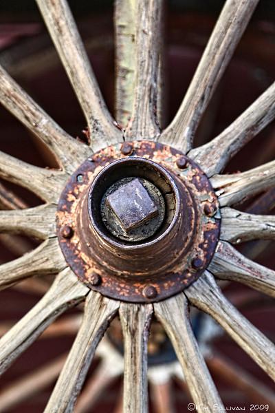 Wagon wheel spokes, Visitor Centre, Dawson Creek BC