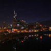 Nashville, TN skyline reflected in the Cumberland River.