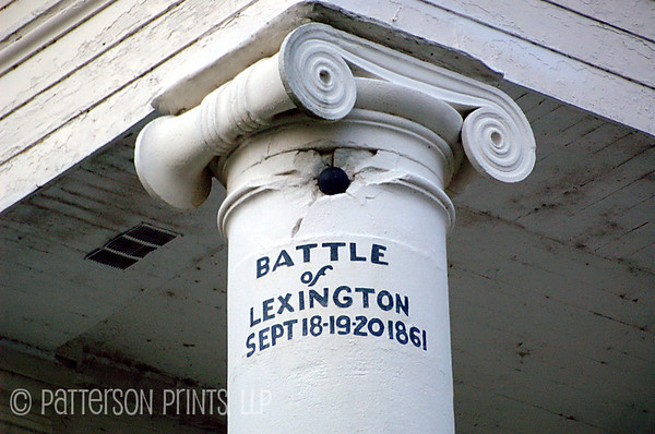 "The Lexington Cannonball - During the Battle of Lexington, aka ""Battle of the Hemp Bails"", a cannonball struck and became lodged in one of the columns of the Lafayette County Courthouse in Lexington, MO.  The original cannonball has since fallen out and is on display inside the courthouse.  A plaster replica was put in its place in remembrance of the event."