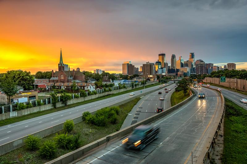 Minneapolis skyline, Sunset Minneapolis, Interstate 35W