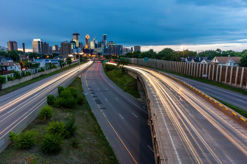 Long exposure Minneapolis, Light Trails Minneapolis, Minneapolis skyline, Interstate 35W