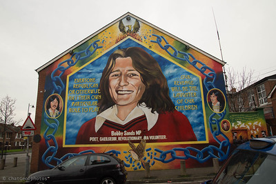 Bobby Sands was a member of the Provisional IRA during the intense years of The Troubles.  He was sent to the Maze prison in Belfast for his activities in support of the Republican cause.  He led a hunger strike of several other Republican soldiers in support of prisoner rights, which they were deprived of during their captivity.  He died in 1981 but is boldly remembered in this mural on the side wall of Sinn Fein headquarters.