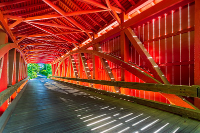 Red Hot Angled Interior of Jericho Covered Bridge