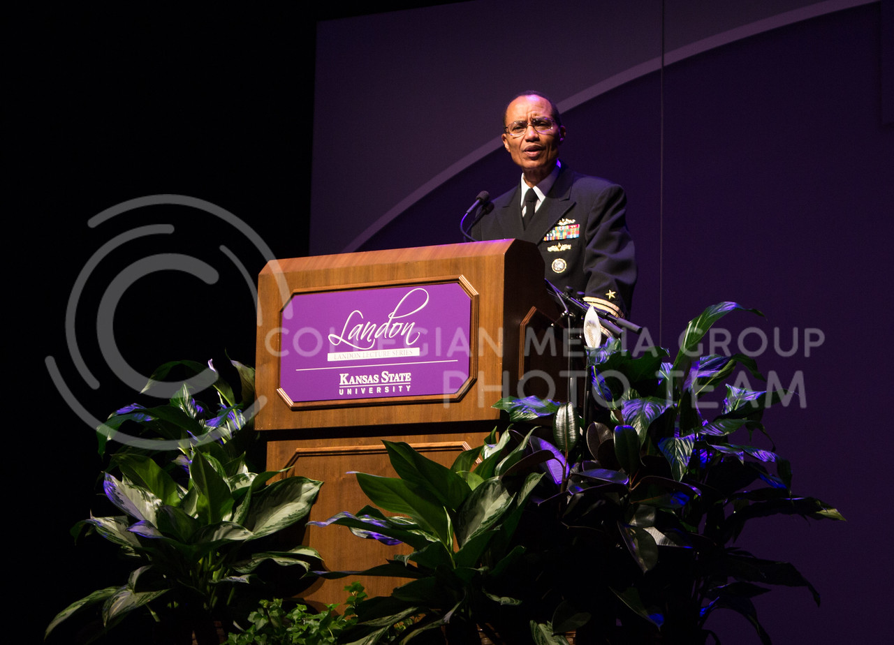 Admiral Cecil Haney, Commander of U.S. Strategic Command, speaks at a Landon Lecture in McCain Auditorium on October 21, 2016. (Regan Tokos | The Collegian)