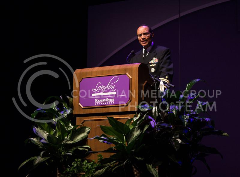 Admiral Cecil Haney, Commander of U.S. Strategic Command, speaks at a Landon Lecture in McCain Auditorium on October 21, 2016. (Regan Tokos | The Collegian)