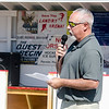 Fitchburg Street Hockey League President Tom MacMaster speaks during the dedication of the new rink to Carmelita Landry on Saturday afternoon. SENTINEL & ENTERPRISE / Ashley Green