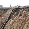 Outfall leaking onto sheer cut slope.  Gully forming. Northeast quadrant of I-495/Braddock Rd interchange. 16 Feb 2011