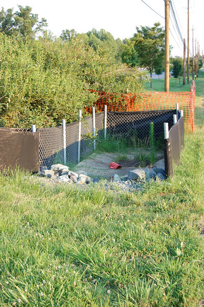 Super silt fence protecting inlet.