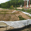 Runoff pond and sediment barriers next to Accotink Creek, Fairfax County Parkway extension construction 091009