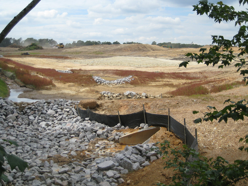 Check dams & storm drain outlet.  Fairfax County Parkway extension construction 091009