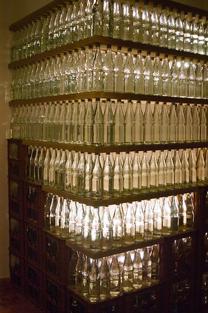 Glass bottle sculpture illuminated, Bauhaus Museum, Berlin, Germany