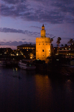 Golden Tower on the Guadalquivir River at dusk Sevilla, Andalucia, Spain