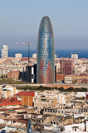 Torre Agbar against the cityscape, Barcelona, Catalonia, Spain