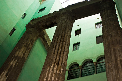 Remaining columns from the Temple of Augustus, gothic quarter, Barcelona, Catalonia, Spain