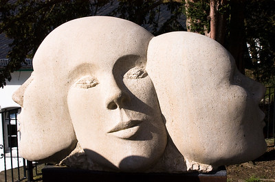 Stone sculpture of faces Hannover, Germany