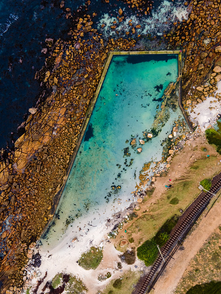 Aerial view of Glencairn tidal pool summer swim, Cape Town, South Africa.
