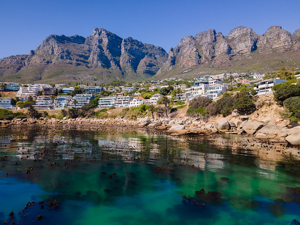 Aerial view of Bakoven with Table Mountain above, Cape Town, South Africa