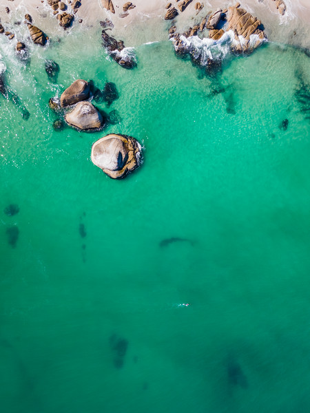 Aerial view of Clifton beach swimmers in summer, Cape Town, South Africa.