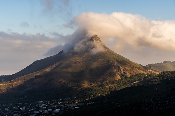 Lion's Head mountain cloud at sunrise Cape Town, South Africa