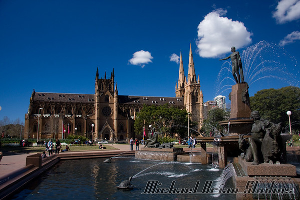 St. James cathedral, in the heart of downtown Sydney.