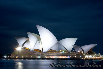 "Sydney Opera House at night, from ""The Rocks"" section of town."