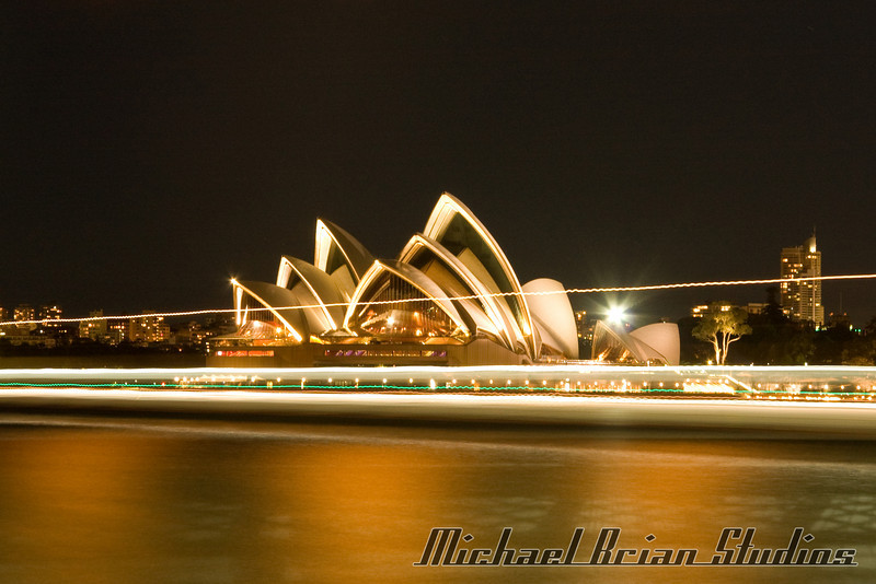 Sydney Opera House from Luna Park at night.