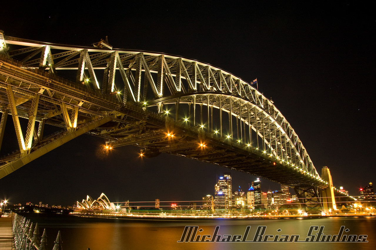Sydney Harbor Bridge from Luna Park at night.