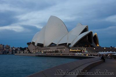 Sydney Opera House at dusk.