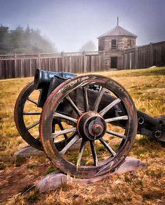 Fort Ross State Historic Park, Canon and Blockhouse. Prints to 11x14