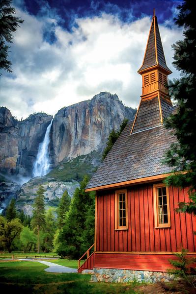 Yosemite Chapel & Yosemite Falls