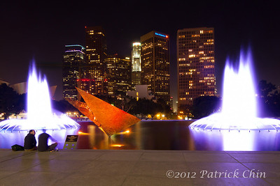 DWP water fountain with Los Angeles Financial District in the background