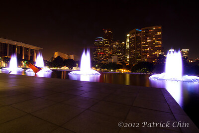 DWP water fountains with L.A. financial district, Disney Concert Hall and Dorothy Chandler Pavilion