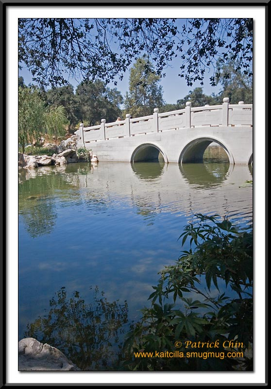 The main bridge across the lake in the Chinese Garden.