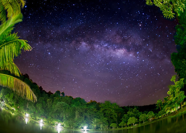 Milky Way Fisheye at Kuraburi Greenview Resort, Thailand