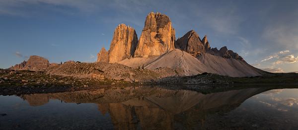 Tre Cime di Lavaredo at sunset, Dolomites