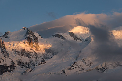 Mont Maudit and Mont Blanc at sunset. From the Bellachat, Aiguilles Rouges, Chamonix