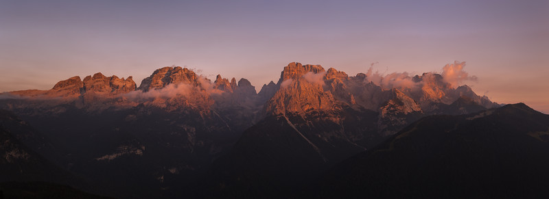 Cima Tosa and Brenta Dolomites at sunset