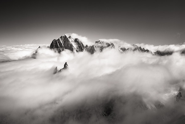 Aiguille Verte, Drus and Droites above a sea of clouds, Chamonix, France