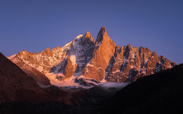Les Drus and Aiguille Verte (4122m) at sunset, Chamonix-Mont-Blanc