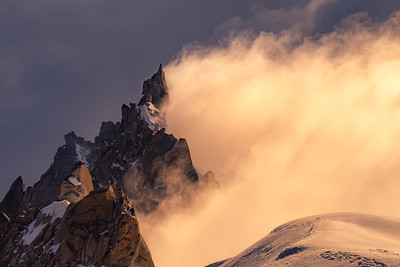 Looking down from the summit of the Aiguille Verte, Chamonix, France