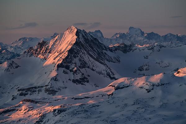 Dent Parrachée and Barre des Ecrins at sunrise from the Grande Motte