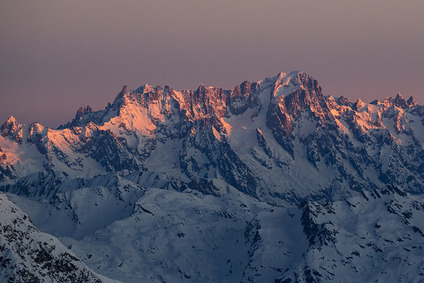 Grandes Jorasses and Dent du Géant at sunrise from the Grande Motte