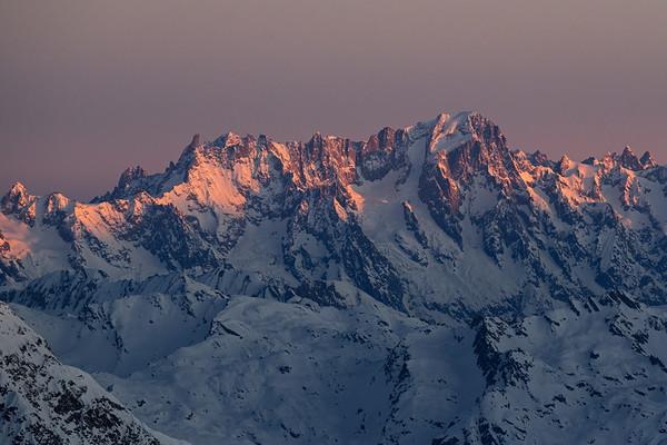 Grandes Jorasses and Dent du Géant at sunrise from the Grande Motte