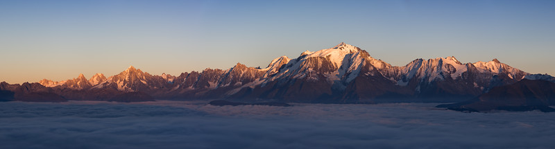 Mont Blanc massif at sunset