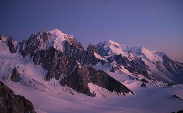 Looking across the Tour glacier at the Aiguille Verte and Mont Blanc, Chamonix, France